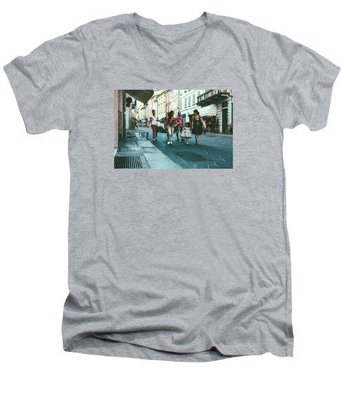 People Men's V-Neck T-Shirt by Cesare Bargiggia