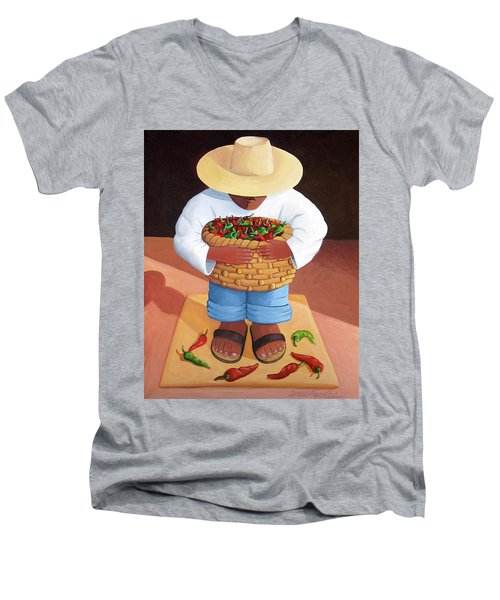 Pepper Boy Men's V-Neck T-Shirt by Lance Headlee
