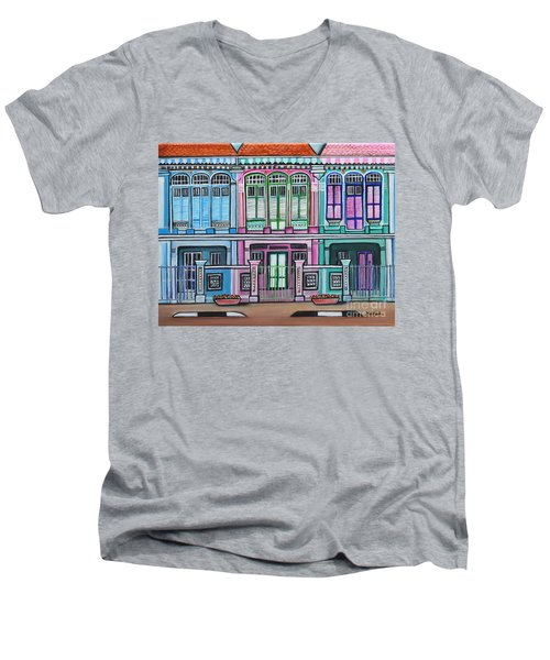 Peranakan Mansion Singapore Men's V-Neck T-Shirt