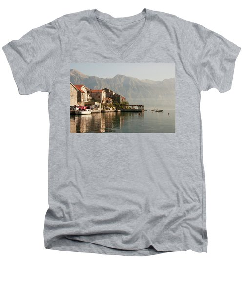 Men's V-Neck T-Shirt featuring the photograph Perast Restaurant by Phyllis Peterson