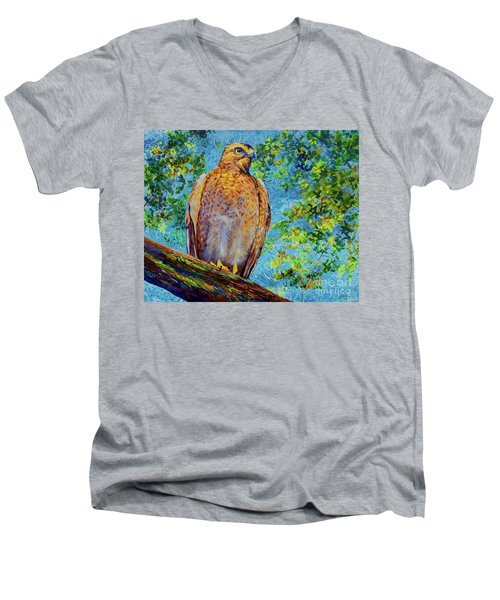 Perched Hawk Men's V-Neck T-Shirt