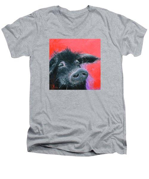 Percival The Black Pig Men's V-Neck T-Shirt by Jan Matson