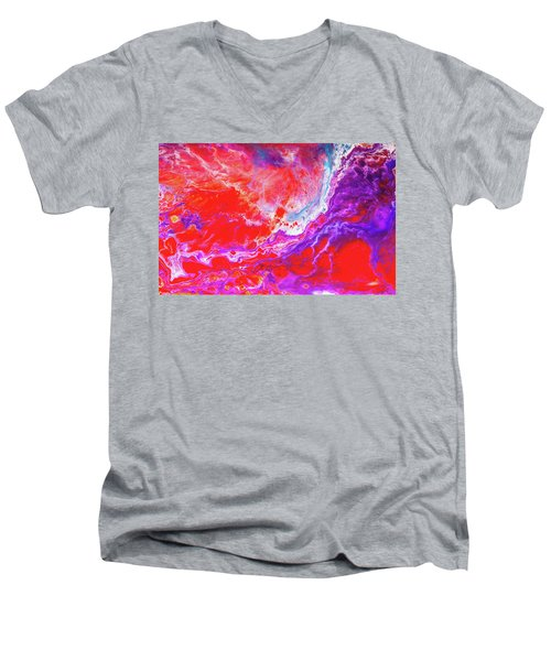 Perfect Love Storm - Colorful Abstract Painting Men's V-Neck T-Shirt by Modern Art Prints