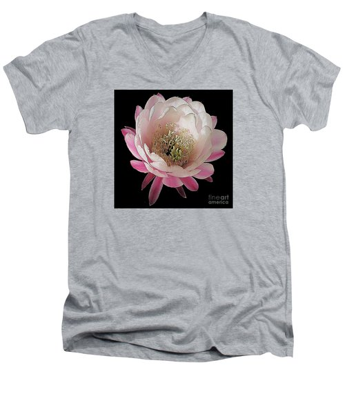 Perfect Pink And White Cactus Flower Men's V-Neck T-Shirt by Merton Allen