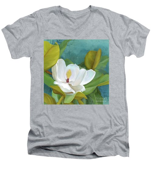 Men's V-Neck T-Shirt featuring the painting Perfection - Magnolia Blossom Floral by Audrey Jeanne Roberts
