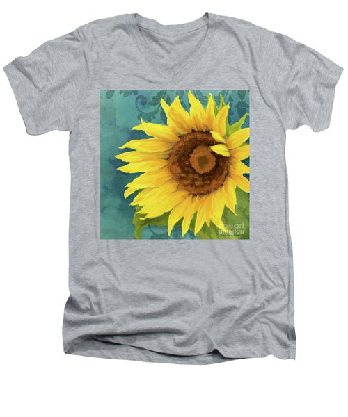 Men's V-Neck T-Shirt featuring the painting Perfection - Russian Mammoth Sunflower by Audrey Jeanne Roberts