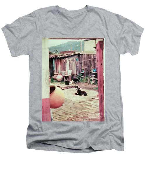 Perro On The Patio Men's V-Neck T-Shirt