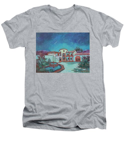 Men's V-Neck T-Shirt featuring the painting Perseids Meteor Shower From La Quinta Museum by Diane McClary