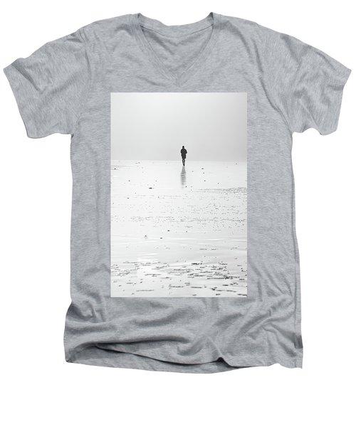 Person Running On Beach Men's V-Neck T-Shirt