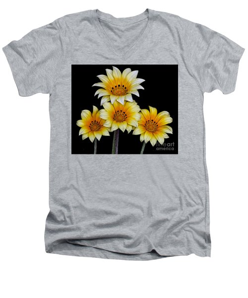 Men's V-Neck T-Shirt featuring the photograph Peruvian Daisies by Shirley Mangini