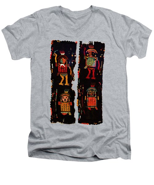 Peruvian Fab Art Men's V-Neck T-Shirt by Asok Mukhopadhyay
