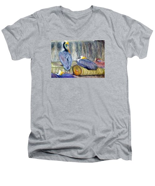 Peruvian Pelicans Three Pastel Men's V-Neck T-Shirt by Antonia Citrino