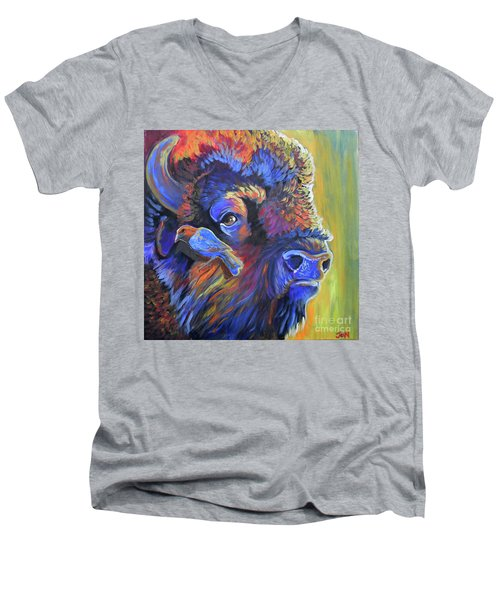 Pesky Cowbird Men's V-Neck T-Shirt by Jenn Cunningham