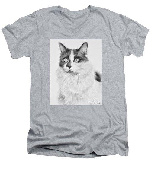 Pet Cat Drawing Olivia Men's V-Neck T-Shirt