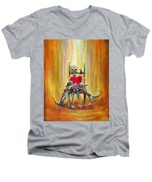 Pet Love Men's V-Neck T-Shirt by Heather Calderon