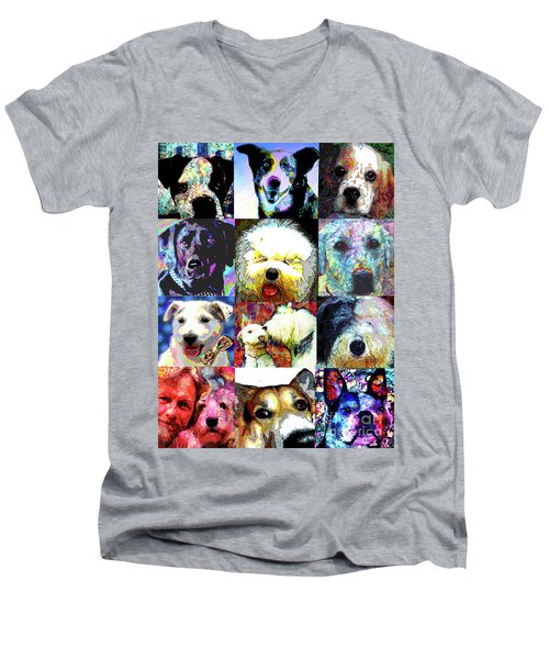 Pet Portraits Men's V-Neck T-Shirt by Alene Sirott-Cope