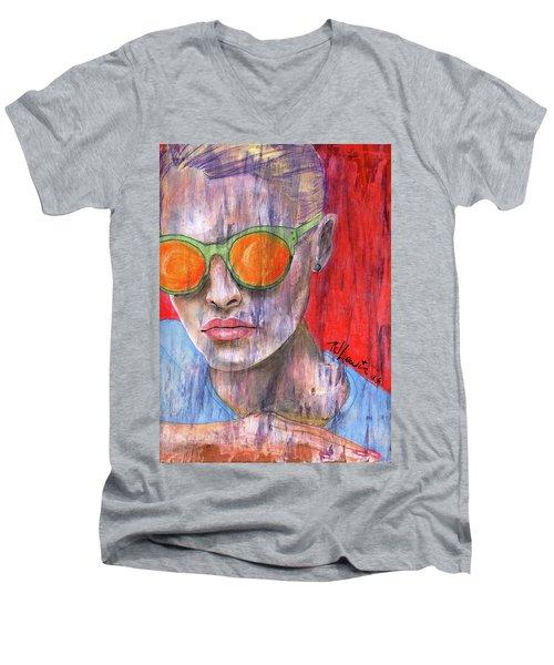 Peta Men's V-Neck T-Shirt by P J Lewis