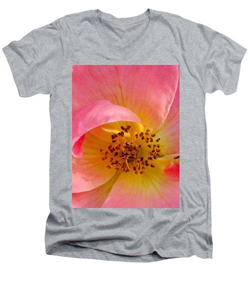 Men's V-Neck T-Shirt featuring the photograph Petal Pink by Geri Glavis