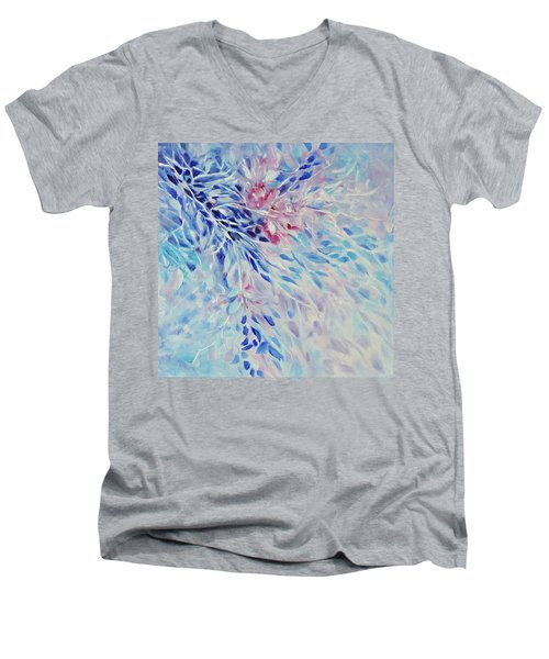 Men's V-Neck T-Shirt featuring the painting Petals And Ice by Joanne Smoley