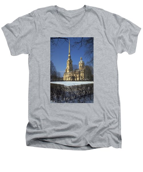 Peter And Paul Cathedral Men's V-Neck T-Shirt by Travel Pics