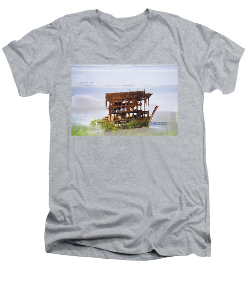 Peter Iredale Men's V-Neck T-Shirt by Angi Parks