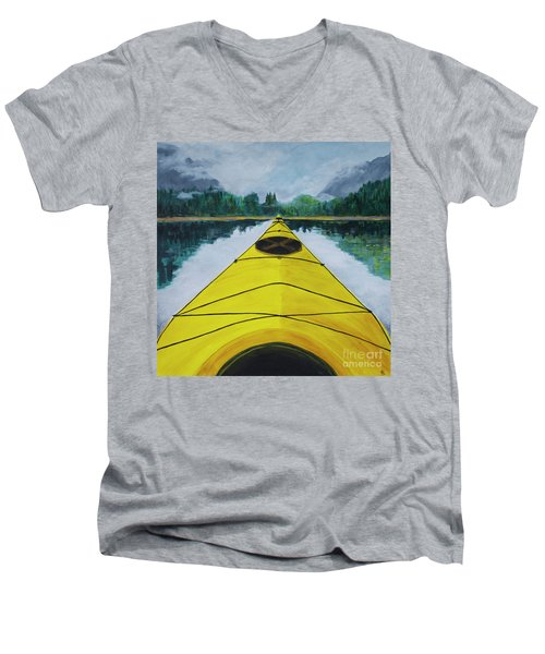 Men's V-Neck T-Shirt featuring the painting Petersburg Creek by Cynthia Lagoudakis
