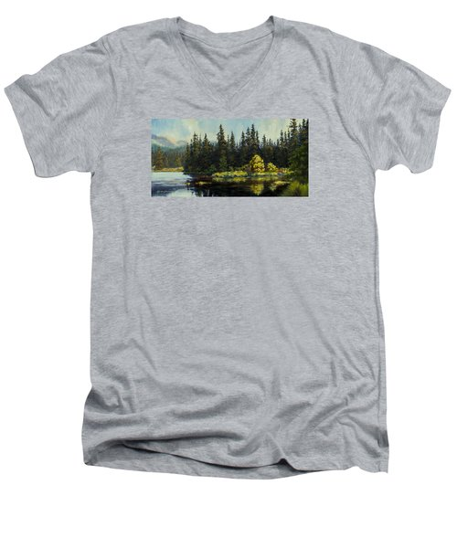 Peterson Lake Men's V-Neck T-Shirt by Kurt Jacobson