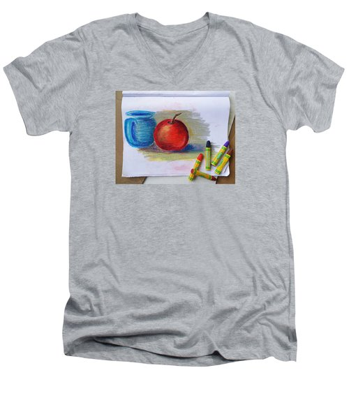 Men's V-Neck T-Shirt featuring the drawing Petit Exercice En Pastel L'huile by Ginny Schmidt