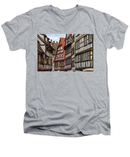 Petite France Houses, Strasbourg Men's V-Neck T-Shirt