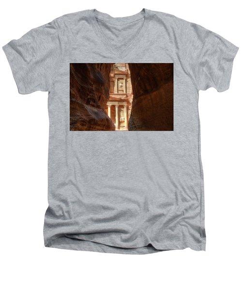 Petra Treasury Revealed Men's V-Neck T-Shirt by Nigel Fletcher-Jones