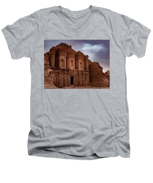 Petra's Monastery Men's V-Neck T-Shirt
