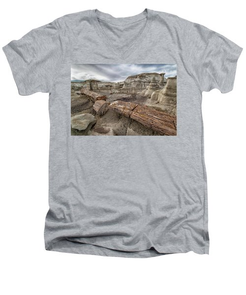 Men's V-Neck T-Shirt featuring the photograph Petrified Remains by Alan Toepfer