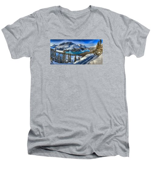 Peyto Lake Winter Panorama Men's V-Neck T-Shirt by Adam Jewell