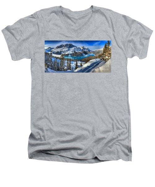 Peyto Lake Winter Panorama Men's V-Neck T-Shirt
