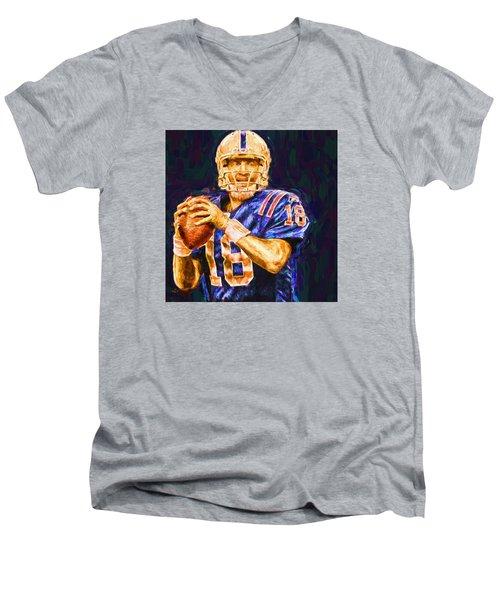 Peyton Manning Indianapolis Colts Nfl Football Painting Digital Men's V-Neck T-Shirt by David Haskett