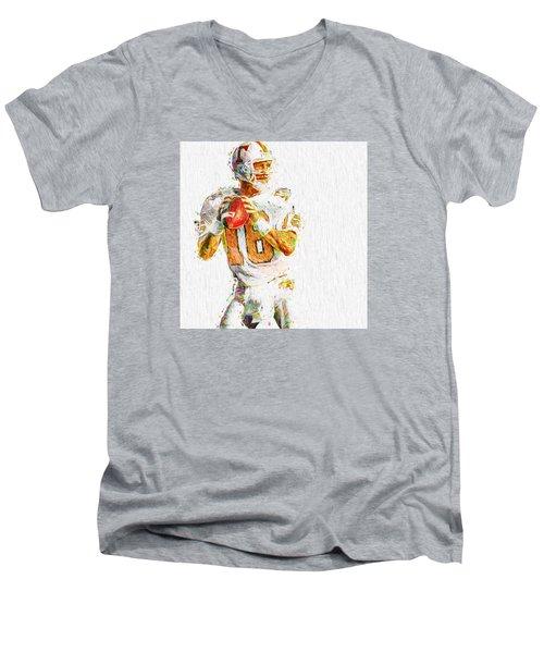 Peyton Manning Nfl Football Painting Tv Men's V-Neck T-Shirt by David Haskett