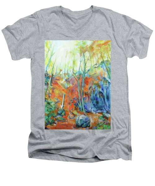 Men's V-Neck T-Shirt featuring the painting Pfeil - Arrow by Koro Arandia