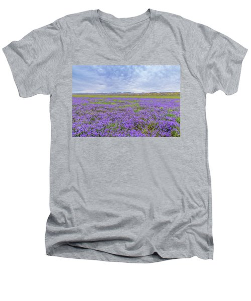 Men's V-Neck T-Shirt featuring the photograph Phacelia Field by Marc Crumpler