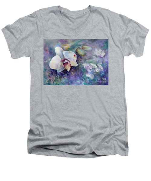 Phalaenopsis Orchid With Hyacinth Background Men's V-Neck T-Shirt