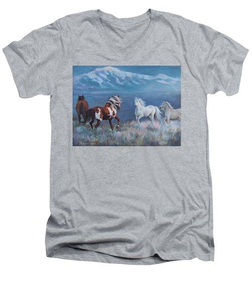 Phantom Of The Mountains Men's V-Neck T-Shirt by Karen Chatham