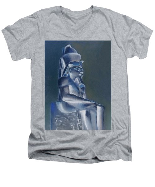 Men's V-Neck T-Shirt featuring the mixed media Pharaoh In Blue by Elizabeth Lock