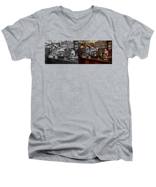 Men's V-Neck T-Shirt featuring the photograph Pharmacy - The Dispensing Chemist 1918 - Side By Side by Mike Savad