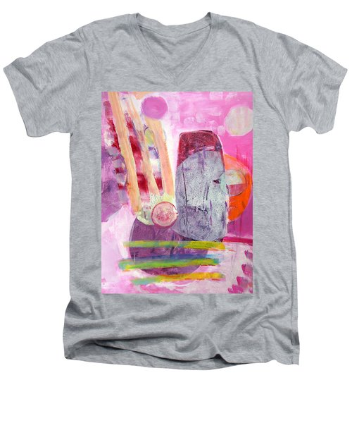 Men's V-Neck T-Shirt featuring the painting Phases by Mary Schiros