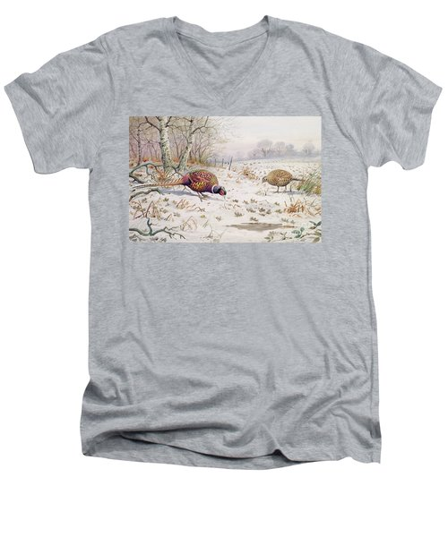 Pheasant And Partridge Eating  Men's V-Neck T-Shirt by Carl Donner