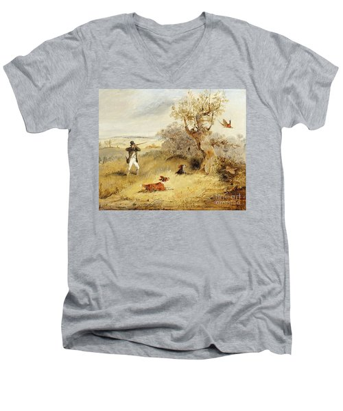 Pheasant Shooting Men's V-Neck T-Shirt by Henry Thomas Alken