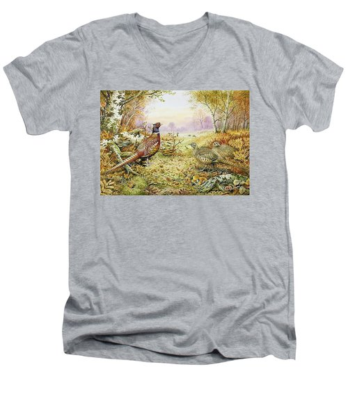 Pheasants In Woodland Men's V-Neck T-Shirt by Carl Donner