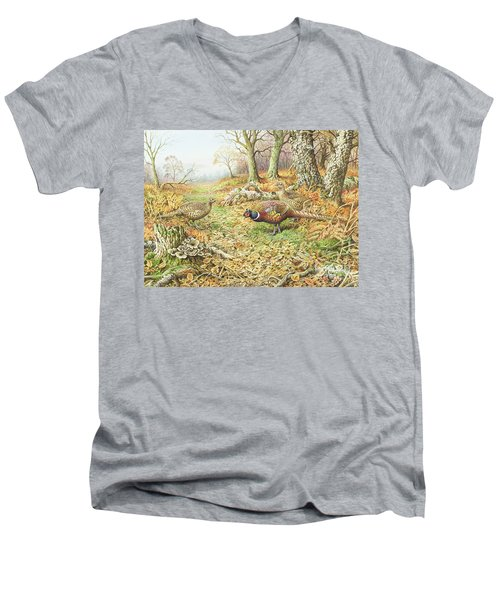 Pheasants With Blue Tits Men's V-Neck T-Shirt by Carl Donner