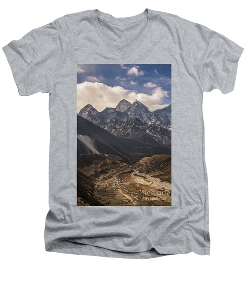 Men's V-Neck T-Shirt featuring the photograph Pheriche In The Valley by Mike Reid