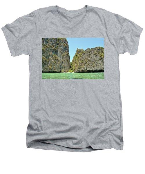Men's V-Neck T-Shirt featuring the digital art Phi Phi Islands 2 by Eva Kaufman