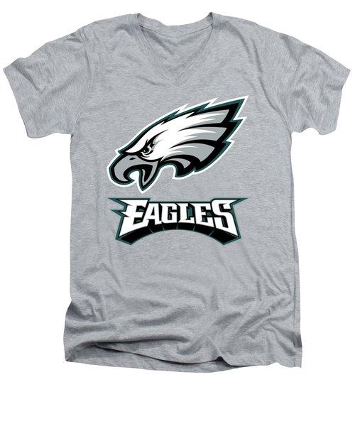 Philadelphia Eagles On An Abraded Steel Texture Men's V-Neck T-Shirt